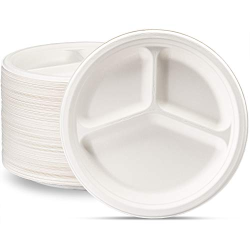 100% Compostable 10 Inch Heavy-Duty Plates [125 Pack] 3 Compartment Eco-Friendly Disposable Sugarcane Paper Plates