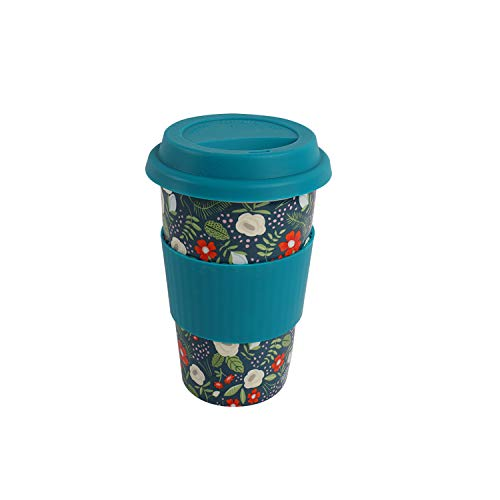 SanFeng Double Wall Ceramic Coffee Travel Mug with Silicone Lid and Sleeve 12oz Portable Insulated Reusable Tall Coffee Cups Splash Proof Lid To Go Thermal Tumbler(Dark Green)