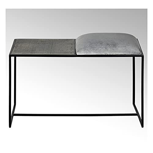Lambert - Sitzbank Mit Kissen, Bank - Leggero - Eisen, Edelstahl - schwarz / graphit - 45,5 x 40 x 79 cm