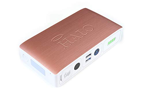 HALO Bolt Compact Portable Car Jump Starter - Car Battery Jump Starter with 2 USB Ports to Charger Devices, Portable Car Charger - Rose Gold