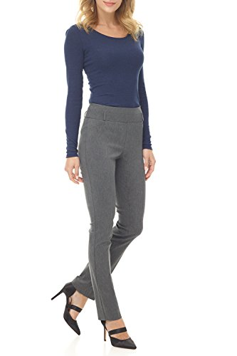 Rekucci Women's Ease into Comfort Stretch Slim Pant (6,Charcoal)