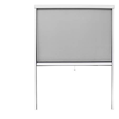 ECD Germany Mosquitera Cortina Enrollable Blanco Resistente a la Intemperie 130x160 cm Tela de Fibra de Vidrio Marco de Aluminio Sin Perforación Malla Protectora Hogar contra Insectos y Mosquitos