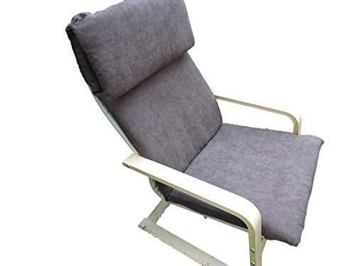 Kissen FÜR SCHAUKELSTUHL Typ Pello oder Poang IKEA. Hergestellt aus hochwertigem Polsterstoff. Sitz 57 x 50 Rücken 57 x 70, 8 cm dick (Sierra)