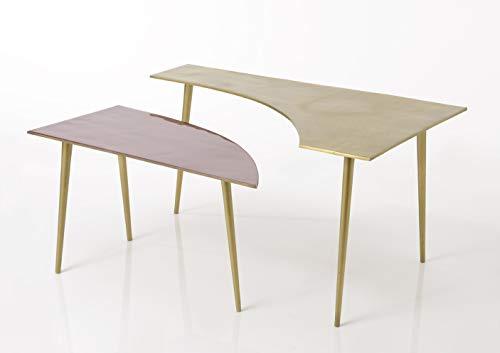 Amadeus - Table Basse à 2 Niveaux Rose et Or en Aluminium et métal