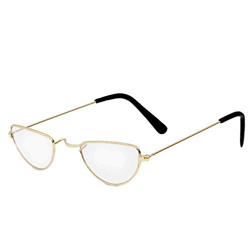 HALF MOON GLASSES FANCY DRESS COSTUME ACCESSORY - SANTA OR TEACHER STYLE HALF EYE GLASSES WITH GOLDEN WIRE FRAMES
