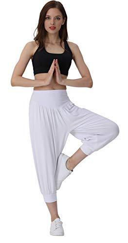 (XX-Large, White) - HOEREV Brand Super Soft Modal Spandex Harem Yoga/ Pilates Capri Pants Cropped Pants