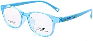 Kids Computer Glasses Kids Anti Blue Light Glasses for Boys and Girls with Car Shape Case and Cleaning Cloth (Light Blue)