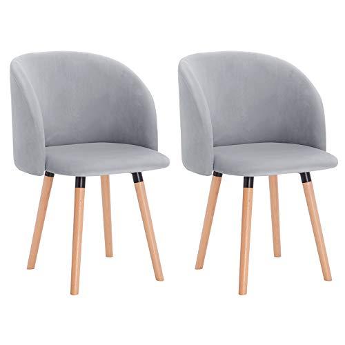 WOLTU Esszimmerstühle BH121gr-2 2er Set Küchenstuhl Wohnzimmerstuhl Polsterstuhl Design Stuhl mit Armlehne, Sitzfläche aus Samt, Gestell aus Massivholz, Grau