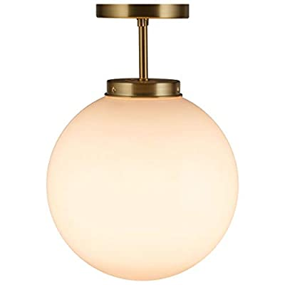 Tangkula Globe Ceiling Lamp, Modern Semi Flush Mount Ceiling Light with Spherical Acrylic Lamp Shade for Residential or Commercial, Suit for Bedroom Kitchen Living Room Hallway