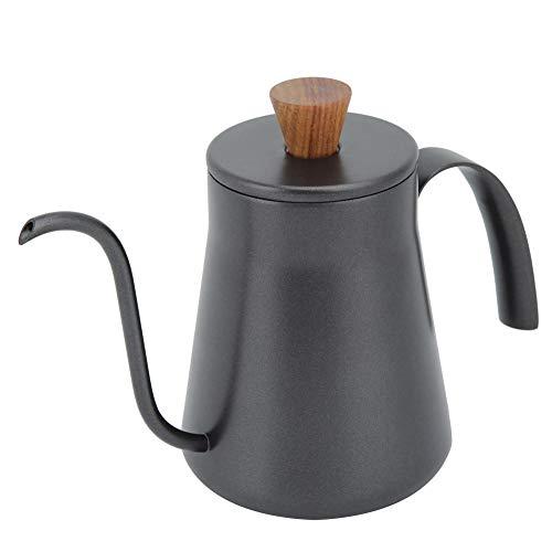 Edelstahl Kaffeekanne Lange Schwanenhals, Retro Tropfkaffeekessel Teekanne mit Ausguss, 400ml Handbrüh Wasserkocher Tee & Espresso Kaffee Kessel für Bar, Haus, schwarz