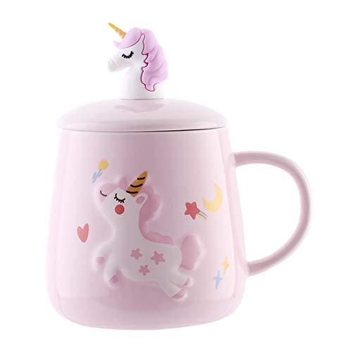UPSTYLE 13oz Cute Unicorn Ceramic Coffee Mug with Lid and Spoon Novelty Funny Cartoon Animals Tumbler the Office Travel Tea Cup To Go for TeaMilkWater13oz400ml Pink Unicorn