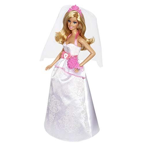 Xqwo Fashion Anzieh-Puppe, Braut-Puppe in Weiß und Rosa Kleid mit Schleier und Blumenstrauß, Geschenk for 3 bis 7-Jährige 30CM