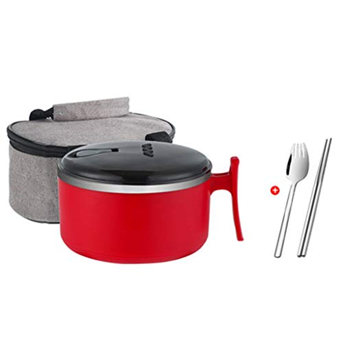 Japanese-style Stainless Steel Tableware Instant Noodle Bowl Student Instant Noodle Rice Bowl For Dormitory Bowl With Lid Single Large Bowl (Color : Red, Size : 157.5cm)
