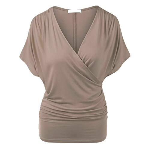 QINPIN Mode Frauen Plus Size Solid Cross V-Ausschnitt Kurzarm Geraffte Top Bluse T Einfarbiger Kreuzausschnitt Kragen Kurzarm-Top mit V-Ausschnitt Plissiertes Enge Taille Oberteil Kaffeebraun XXXXXL