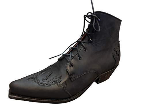 Sendra Cowboystiefel Stiefelette Line Dance Schnürr Stiefel Mod. 16008-1 (40 EU, Schwarz)