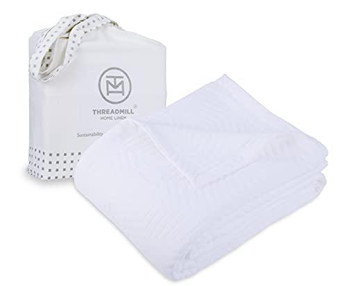Threadmill Twin Size, weiche weiße Decke – Premium und luxuriöse Qualität, aus 100prozent langstapeliger gekämmter Baumwolle, Jacquard Aster Matelasse Finish Tagesdecke für alle Jahreszeiten, 172,7 x 228,6 cm
