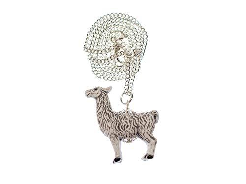 Miniblings Lama Alpaka Kette Tiere Tier Huftier Wolle Keramik weiß 45cm