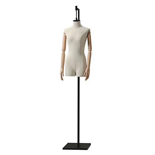 HAIPENG Schneiderpuppe Weiblich Körper Kleiderordnung Hängend Dummy Modell Mit Holzwaffen Zum Kleidung Kleid Schmuck Anzeige, 2 Farben (Color : White)