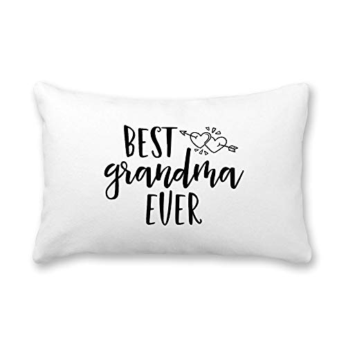 TattyaKoushi Satin Pillow Covers for Hair and Skin Pillowcase with Inspirational Quote, Best Grandma Ever Pillow Case Cover 16 x 24 Inch for Bedroom Funny Housewarming Gift