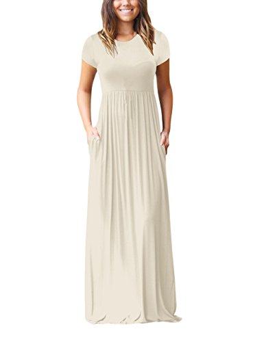 Vestido Playa Mujer Elegantes Manga Corta Cuello Redondo Talle Alto Una Línea Classic Chic Color Sólido Vestidos Largos De Verano Vestido Largo Casual con Bolsillo