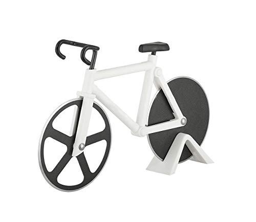 Tagliapizza per bicicletta tagliapizza, interessante piano cottura per pizza in acciaio inossidabile, tagliapizza con ruote affilate in rivestimento antiaderente (bianco)