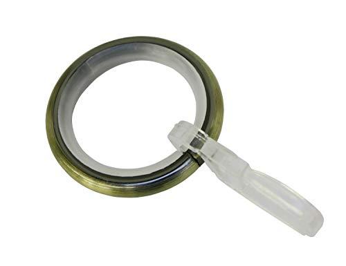 Gardinia Anillas de Cortina con Inserto Deslizante y Gancho para Pliegues, Metal para diámetro de 16 mm, latón Envejecido, 10 Unidades, 10 Unidades