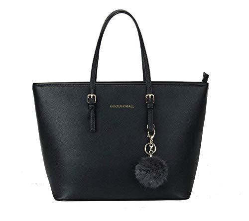 GOODFORALL Damen Handtasche Shopper Handtasche Schwarz Elegant Tasche Damen Groß Schule Handtasche(Black)