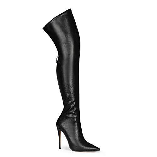 Damen sexy Reißverschluss Spitzen Zehen Super High Heel Stilett leicht zu Fuß Bequeme Over-Knie handgefertigte Stiefel für Frauen Zc2451