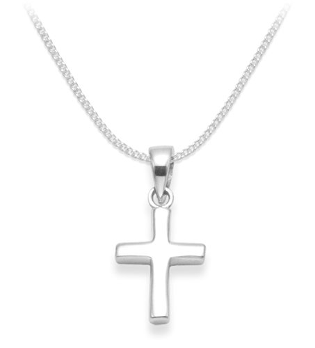 Heather Needham Children's Sterling Silver Cross Necklace on 16' Silver chain - Gift Boxed - Size: 11mm x 15mm. 8155/16