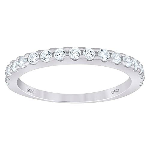 JewelryWeb Mujer 0.925 plata de ley redonda