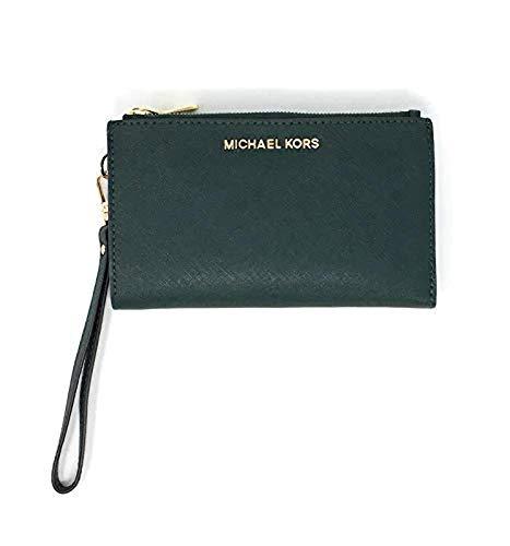 Michael Kors Jet Set Travel Double Zip Saffiano Leather Wristlet Wallet 2019 New Color (Racing Green), Medium