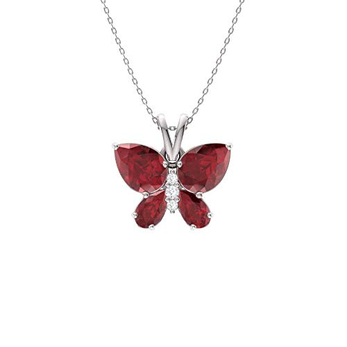 Diamondere Natural and Certified Ruby and Diamond Butterfly Petite Necklace in 14k White Gold | 1.11 Carat Quality Pendant with Chain