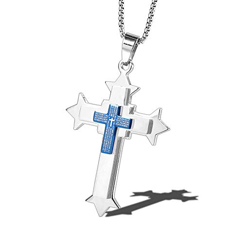 Burenqi Fashion zilveren roestvrijstalen grote kruis hanger ketting met Lord gebed ketting laser bijbel vers kruis ketting