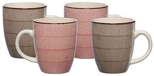Ritzenhoff & Breker Kaffeebecher-Set Happy, 4-teilig, je 360 ml, Rosa / Grau, Steinzeug