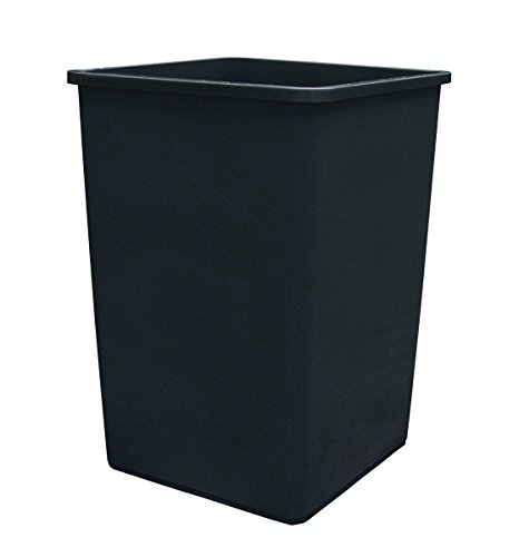 Update International TCSQ-35B Plastic Trash Can, 35 Gal, Black