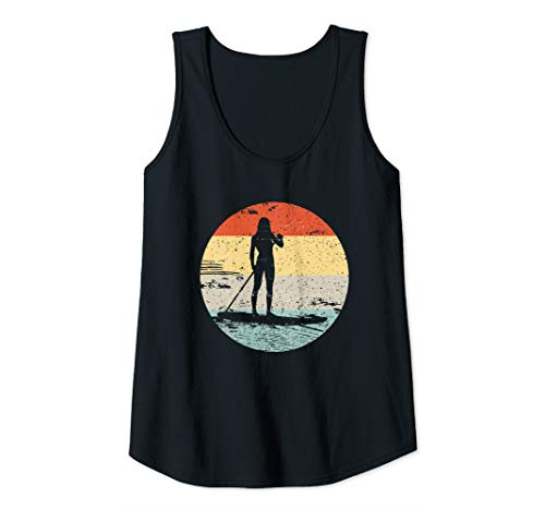 Womens Stand Up Paddle Board Sporty Woman Silhouette Design Tank Top