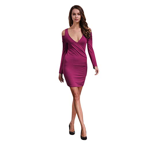 SANFASHION Damen Minikleid,Mode Frauen Schulterfrei Langarm V-Ausschnitt Über dem Knie Kleid Partykleid