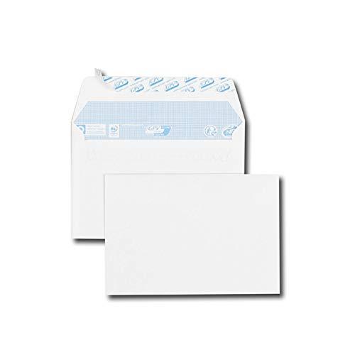 Caja de 500 sobres blancos C6 114 x 162 80 g/m2 banda de protección