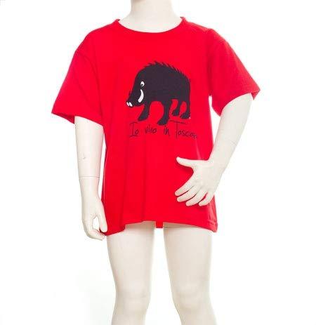 Kinder-T-Shirt mit Schriftzug IO VIVO IN Toscana Rosso 11/12 ANNI