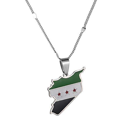 N/A Collar Colgante Collares Pendientes de Mapa de Siria de Acero Inoxidable joyería de Encanto de Mapa de sirios Regalo de cumpleaños de Navidad para el día de la Madre