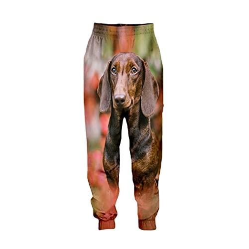 Pantalones casuales impresos animales de perro salchicha 3D, pantalones largos deportivos sueltos de las mujeres de los hombres, 19, 5XL
