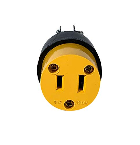 Female Replacement Plug | 2 Prong Heavy Duty Female Rubber Plug | 15 Amps | Easy and Secure Connection | Perfect for most household items!