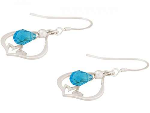 Damen - Ohrringe - Ohrhänger - 925 Silber - Lotus Blume - Topas Quarz - Tropfen - Blau - YOGA - 3 cm
