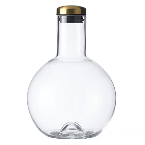 Menu 4685849 Flaschenkaraffe, 1,3 l, rund, mit Messingdeckel, Glas, transparent