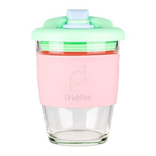 DrinkPod wiederverwendbarer BPA-frei 340 ml 12 oz Kaffeebecher / Reisetasse aus Glas – GREEN DREAM, GRÜN