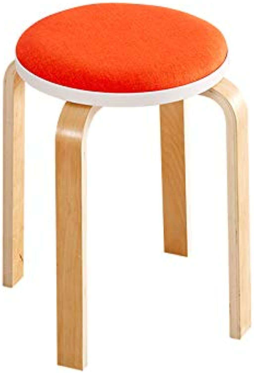 Small Bench Fashion Cloth orange Multi-Function Chair High Stool Dressing Stool Living Room Dining Room Bench (color   A, Size   45x32cm)