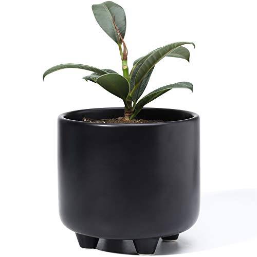 Plant Pot with Drainage Hole - POTEY 051702 5.3 Inch Glazed Ceramic Modern Planters Indoor Bonsai Container for Plants Flower Aloe(Matte Black, Plants Not Included)