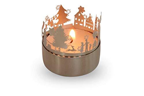 13gramm Weihnachtszeit Windlicht Schattenspiel Geschenk, 3D Edelstahl Aufsatz für Kerze inkl. Karte