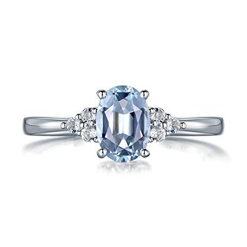 ANAZOZ Echtschmuck Damen Ring 0,72 ct Aquamarin Verlobungring 18 Karat Weißgold Klassisch Hochzeitsring mit 0,08 ct Diamant Bandringe Ehering Größe 50 (15.9)