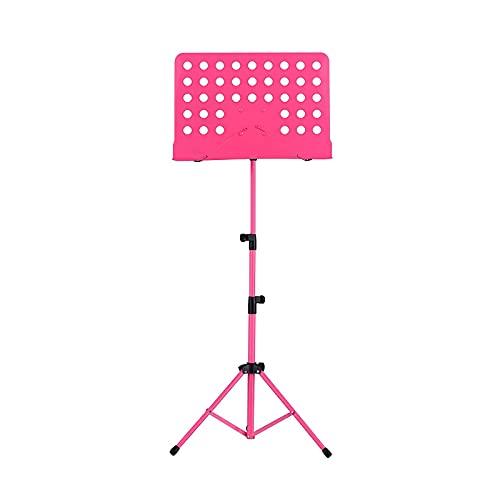 Soporte de música metálica desmontable, piano, violín, guitarra, partituras, accesorios (Color : Pink)